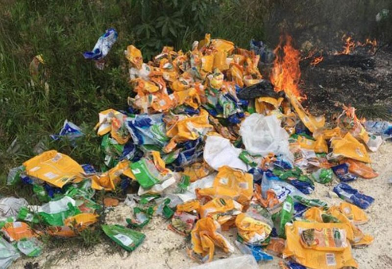 Bags of subsidized sugar and rice found empty and burned
