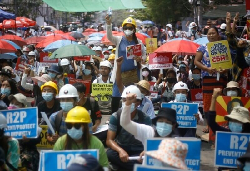 Myanmar anti-coup protesters