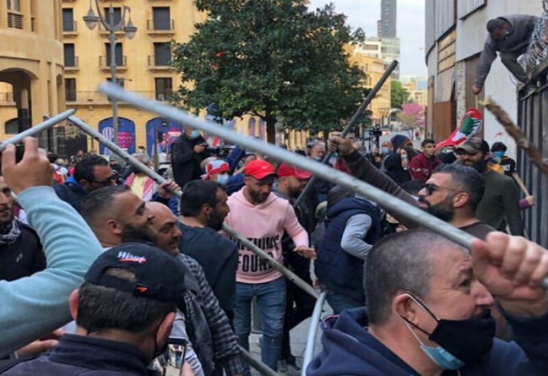 Protesters took to the streets near Parliament