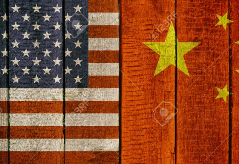 The Chinese and US national flags