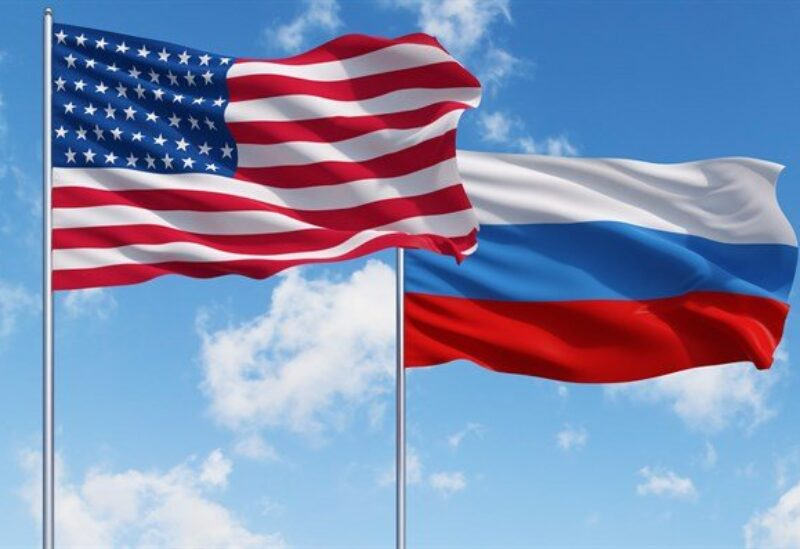 American and Russian flags.
