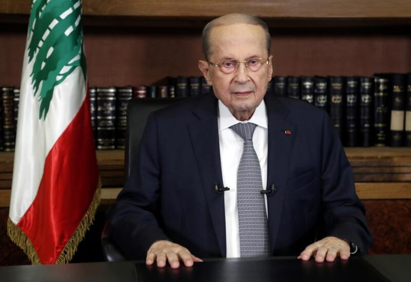 FILE PHOTO: Lebanon's President Michel Aoun is pictured at the presidential palace in Baabda, Lebanon March 17, 2021.