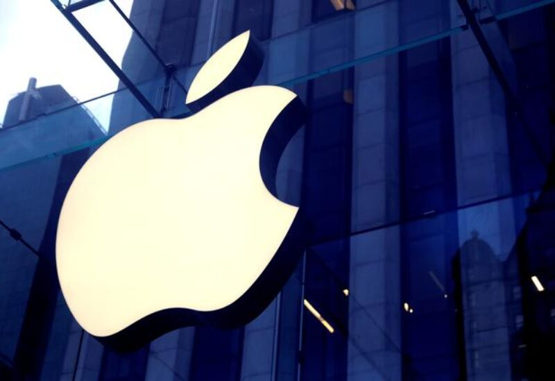 FILE PHOTO: The Apple Inc logo is seen hanging at the entrance to the Apple store on 5th Avenue in Manhattan, New York, U.S., October 16, 2019.