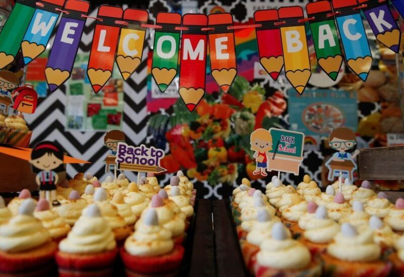 Cakes are seen in the school canteen to welcome children back to Heath Mount school, in Watton at Stone, Hertfordshire, Britain March 8, 2021.
