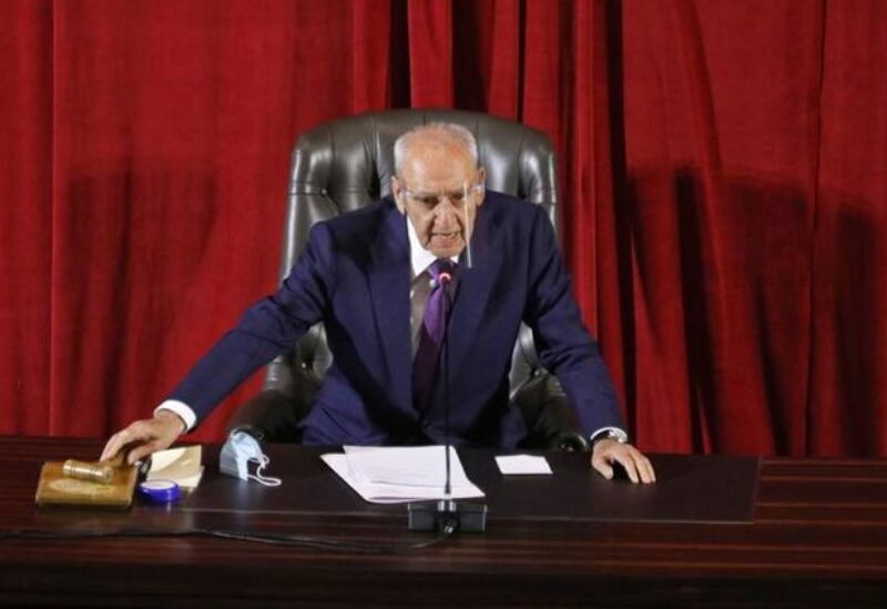 FILE PHOTO: Lebanese Parliament Speaker Nabih Berri heads a legislative session, as Lebanon's parliament approved a law that paves the way for the government to ink deals for coronavirus vaccinations, at UNESCO Palace in Beirut, Lebanon January 15, 2021.