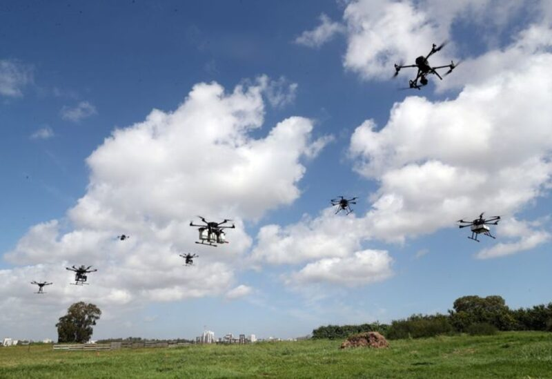 Delivery drones are seen midair during a demonstration whereby drones from various companies flew in a joint airspace and were managed by an autonomous control system in Haifa, in an open area near Hadera, Israel March 17, 2021.