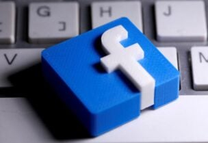 FILE PHOTO: A 3D-printed Facebook logo is seen placed on a keyboard in this illustration taken March 25, 2020.