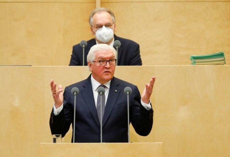 FILE PHOTO: German President Frank-Walter Steinmeier speaks in the Bundesrat, the upper house of parliament, in Berlin, February 12, 2021.