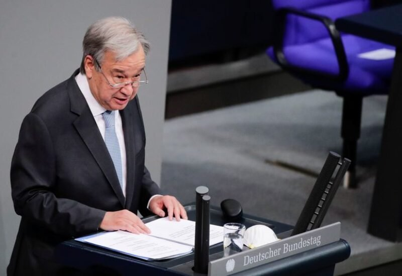 FILE PHOTO: United Nations Secretary-General Antonio Guterres delivers a speech at the lower house of parliament Bundestag in Berlin, Germany, December 18, 2020.