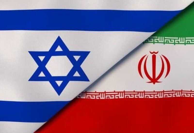 The Israeli flag and the Iranian flag