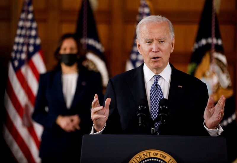 """FILE PHOTO: U.S. President Joe Biden and Vice President Kamala Harris deliver remarks after meeting with Asian-American leaders to discuss """"the ongoing attacks and threats against the community,"""" during a stop at Emory University in Atlanta, Georgia, U.S., March 19, 2021."""