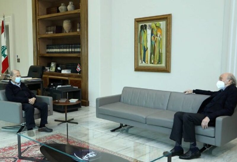 Lebanese President Michel Aoun holding a meeting with the leader of the Progressive Socialist Party, Walid Jumblatt, at the Baabda Palace on March 20, 2021.
