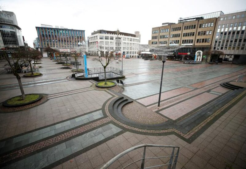 FILE PHOTO: Picture shows the abandoned Kennedy Square due to the coronavirus disease (COVID-19) pandemic lockdown in downtown Essen, Germany, March 11, 2021.