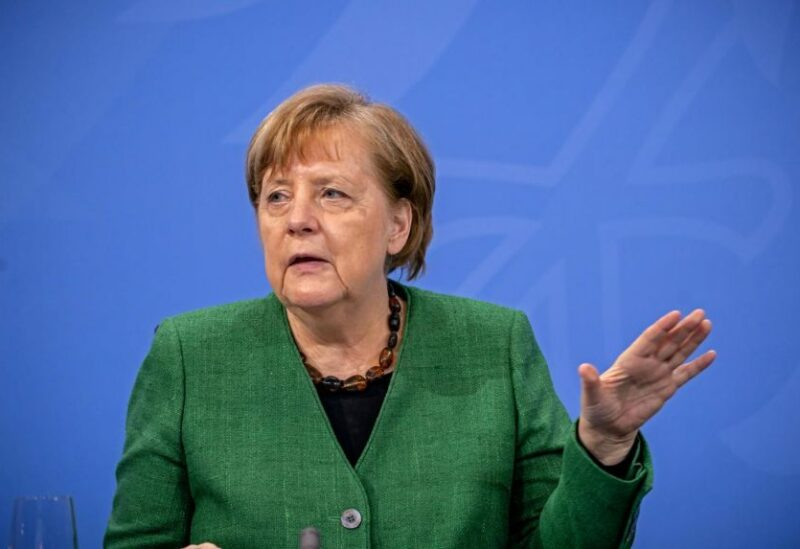 FILE PHOTO: German Chancellor Angela Merkel speaks at a news conference after a meeting with state leaders to discuss options beyond the end of the pandemic lockdown, amid the outbreak of the coronavirus disease (COVID-19), in Berlin, Germany, March 23, 2021.
