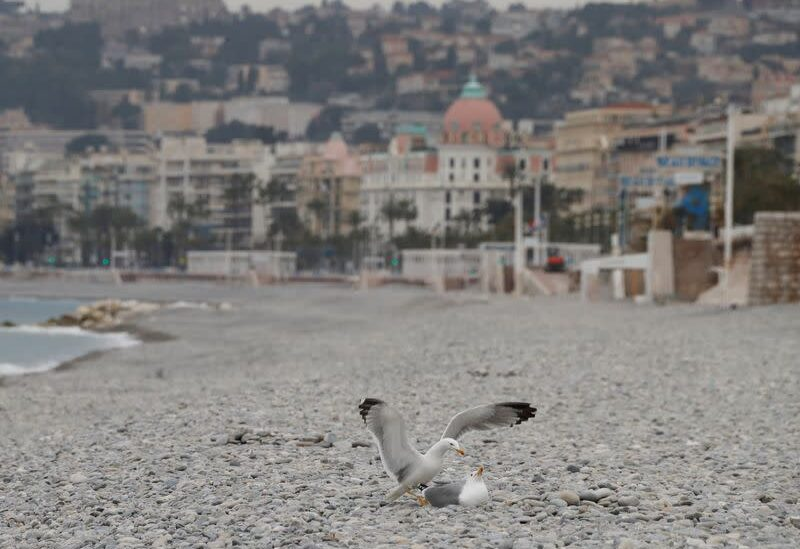 FILE PHOTO: Seagulls are seen on an empty beach of the Promenade des Anglais during the first local weekend lockdown imposed to slow the rate of the coronavirus disease (COVID-19) contagion, in Nice, France, February 27, 2021.