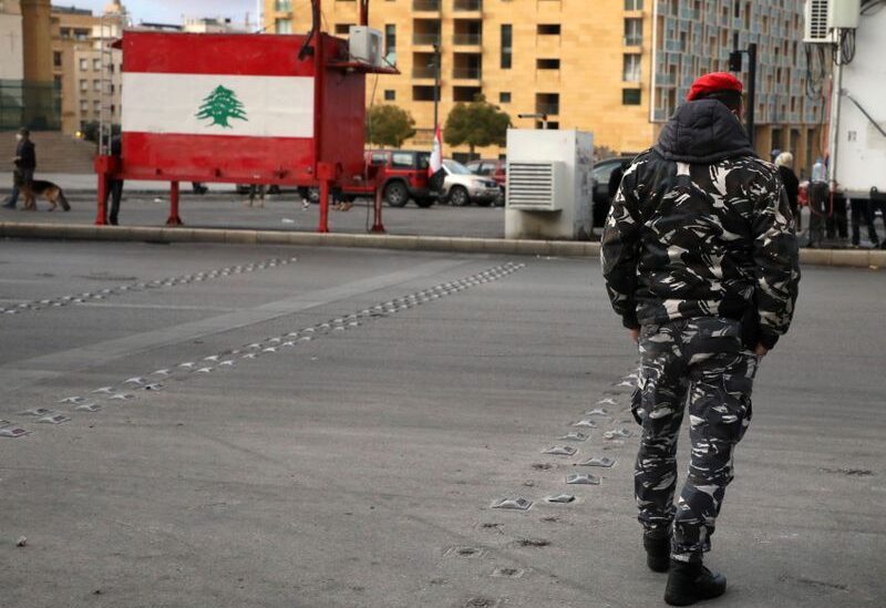 A Lebanese police walks in Beirut, Lebanon, March 4, 2021.