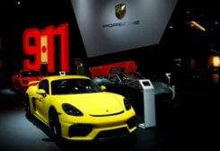 FILE PHOTO: A Porsche Cayman GT4 car is seen at Brussels Motor Show, Belgium, January 9, 2020.
