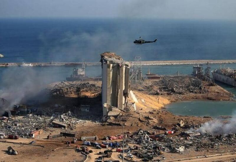 FILE PHOTO: A picture shows damages at the site of the explosion that shook Beirut's port area on August 4, 2020.