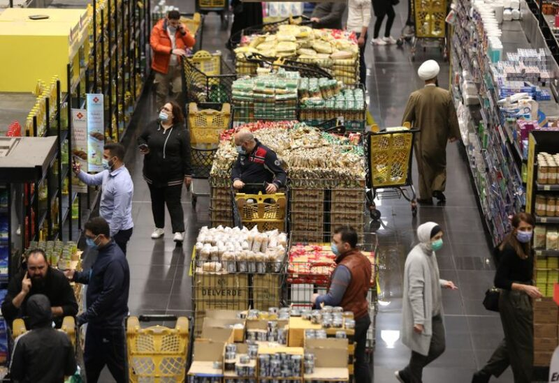 People shop inside a supermarket in Beirut, Lebanon March 16, 2021.