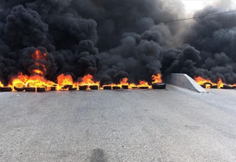 Tires burned on a highway in Lebanon