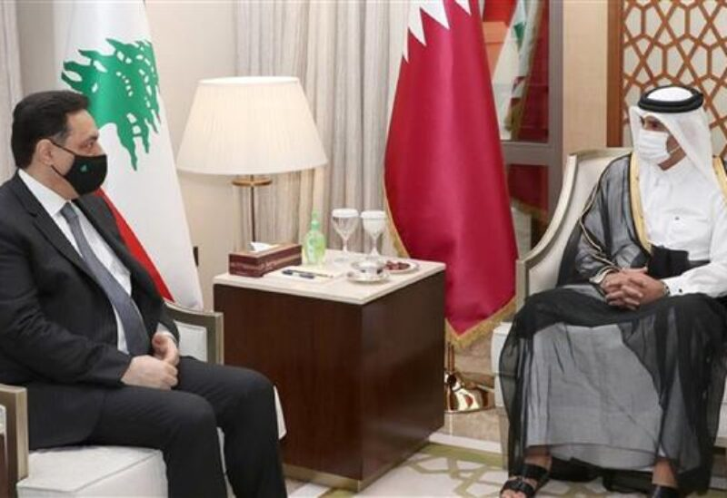 Hassan Diab with Sheikh Tamim bin Hamad Al Thani in Doha