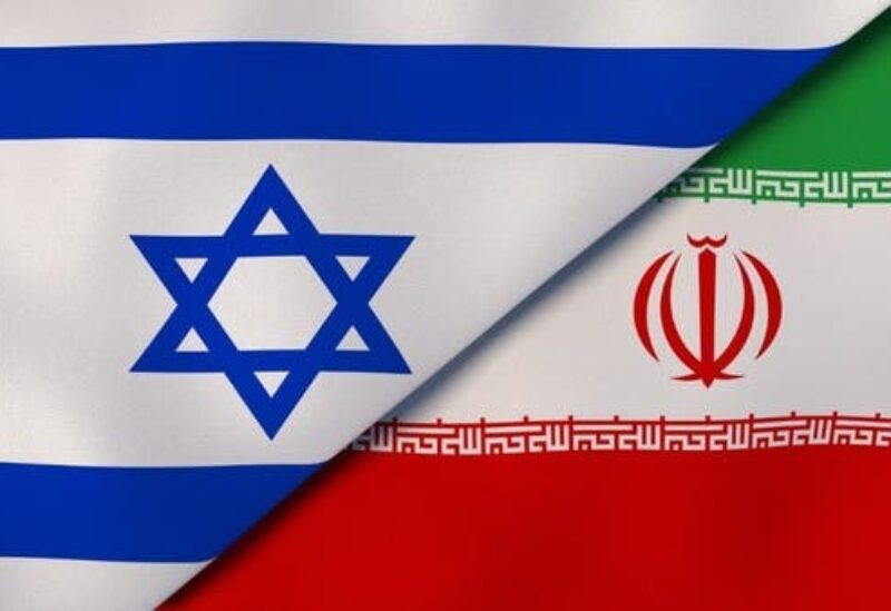 Iranian and Israeli flags.