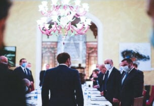 Macron meeting with Lebanese leaders at Residence des Pins