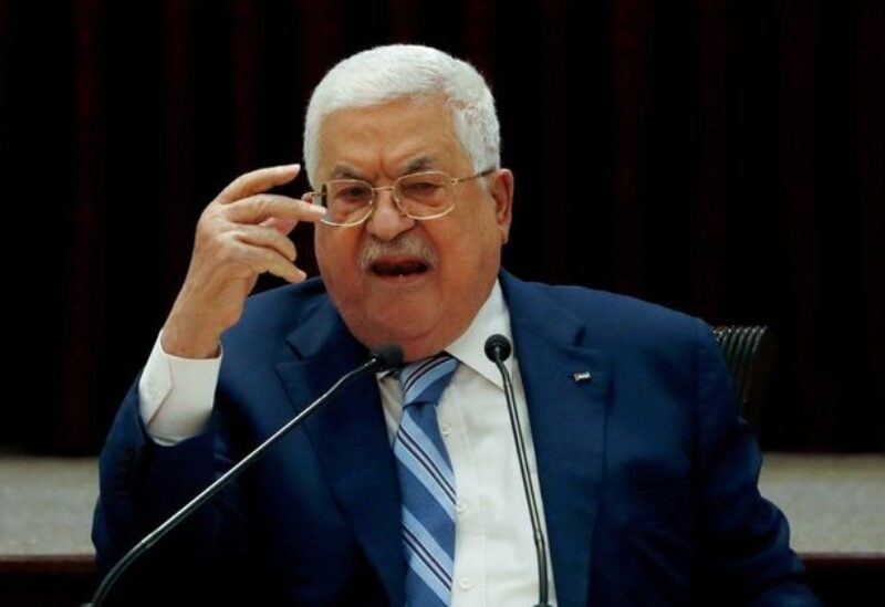 FILE PHOTO: President Mahmoud Abbas gestures during a meeting in Ramallah, in the Israeli-occupied West Bank August 18, 2020.