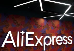 FILE PHOTO: The logo of AliExpress is seen inside the company's office in Moscow, Russia July 9, 2020. Picture taken July 9, 2020.
