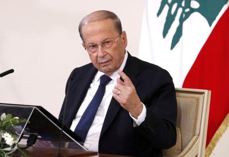 FILE PHOTO: Lebanon's President Michel Aoun speaks during a news conference at the presidential palace in Baabda, Lebanon October 21, 2020.