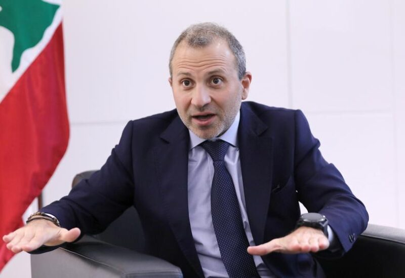 FILE PHOTO: Gebran Bassil, a Lebanese politician and head of the Free Patriotic movement, talks during an interview with Reuters in Sin-el-fil, Lebanon July 7, 2020.