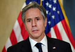 FILE PHOTO: U.S. Secretary of State Antony Blinken addresses the media following the closed-door morning talks between the United States and China upon conclusion of their two-day meetings in Anchorage, Alaska March 19, 2021.