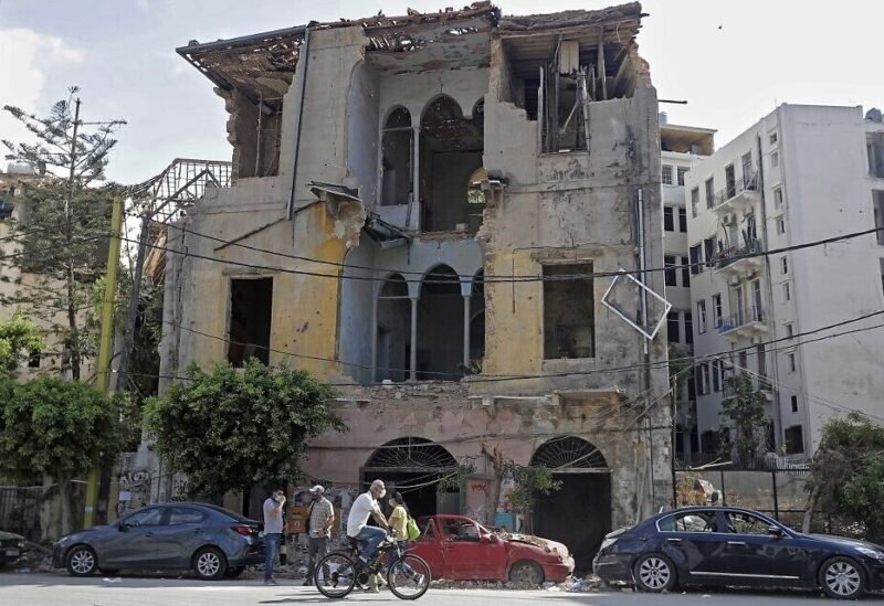 A picture taken on August 11, 2020, shows a view of a heavily-damaged traditional Lebanese house due to the Beirut port explosion, in the devastated Gemmayzeh neighborhood across from the harbor / AFP