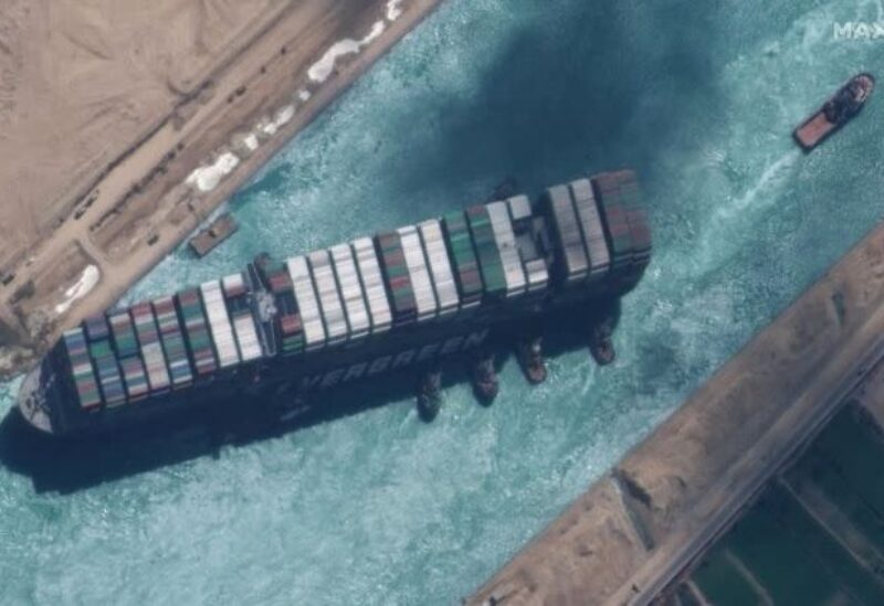 FILE PHOTO: A view shows Ever Given container ship in Suez Canal in this Maxar Technologies satellite image taken on March 29, 2021.