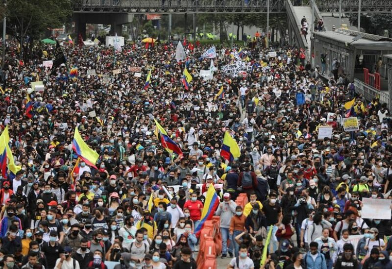 Demonstrators take part in a protest against the tax reform of President Ivan Duque's government in Bogota, Colombia April 28, 2021. REUTERS