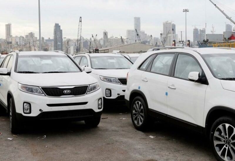 FILE PHOTO: Kia cars are seen parked in the port of Beirut, Friday, Dec. 12, 2014.