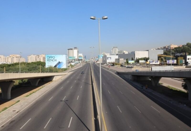 A picture taken on January 10, 2021 shows an empty main road in central Beirut after the country went into a three-week lockdown in a bid to stem the spread of the novel coronavirus. / AFP