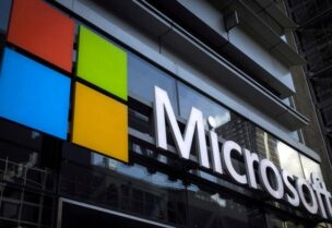 FILE PHOTO: A Microsoft logo is seen on an office building in New York City on July 28, 2015.