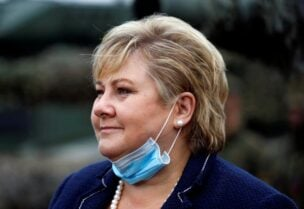 FILE PHOTO: Norwegian Prime Minister Erna Solberg visits troops of the NATO enhanced Forward Presence Battle Group in Pabrade, Lithuania September 8, 2020.