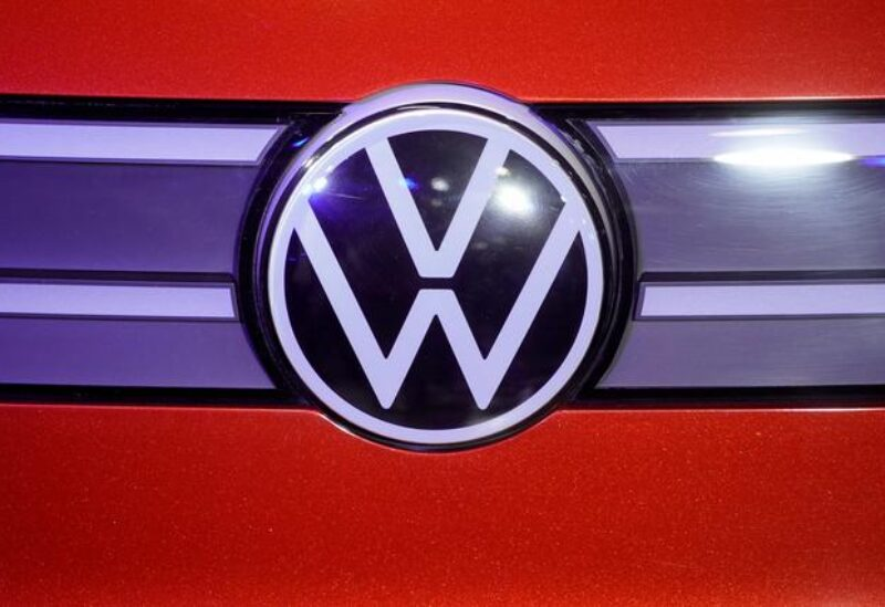 FILE PHOTO: A Volkswagen logo is seen at a construction completion event of SAIC Volkswagen MEB electric vehicle plant in Shanghai, China November 8, 2019.