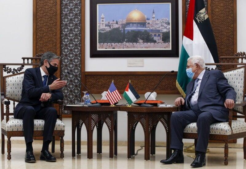 Anthony Blinken and Mahmoud Abbas