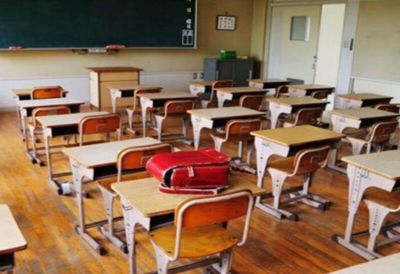 Empty school desks in Lebanese schools