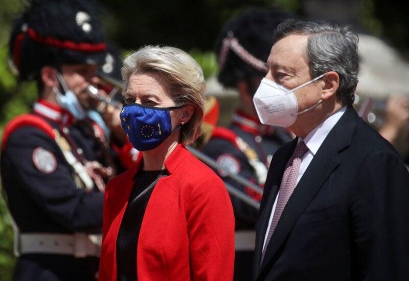 European Commission President Ursula von der Leyen and Italian Prime Minister Mario Draghi