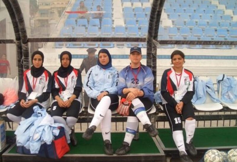Gaza camp's female football team