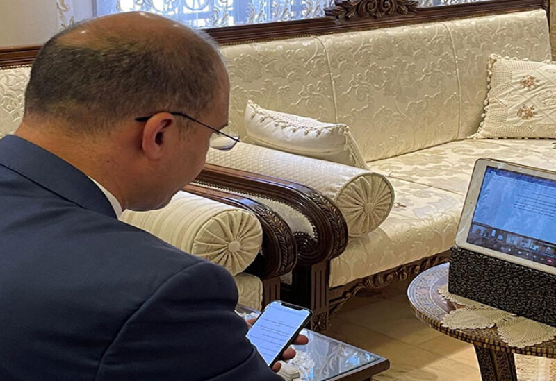 Health Minister Hamad Hassan during a virtual meeting