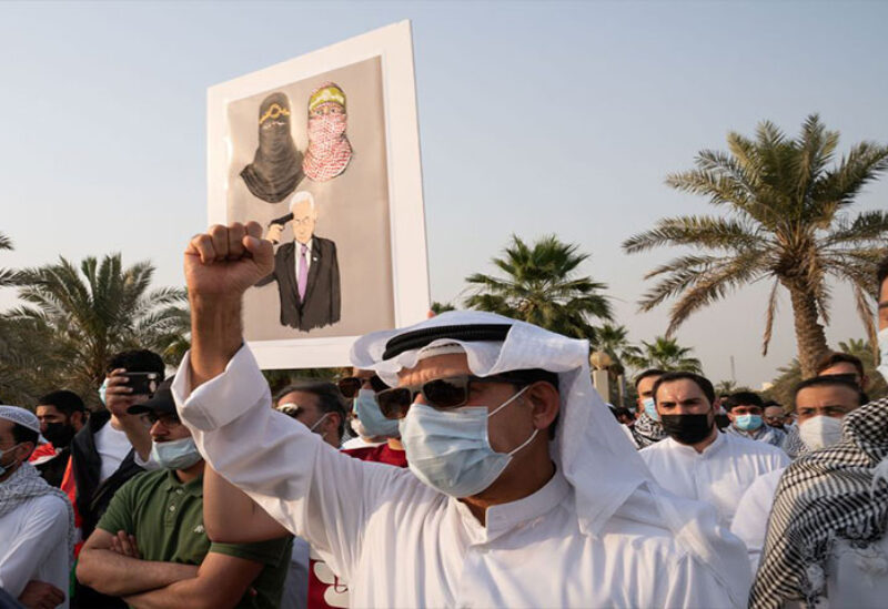 Kuwaitis demonstrated on Wednesday in support of Palestinians