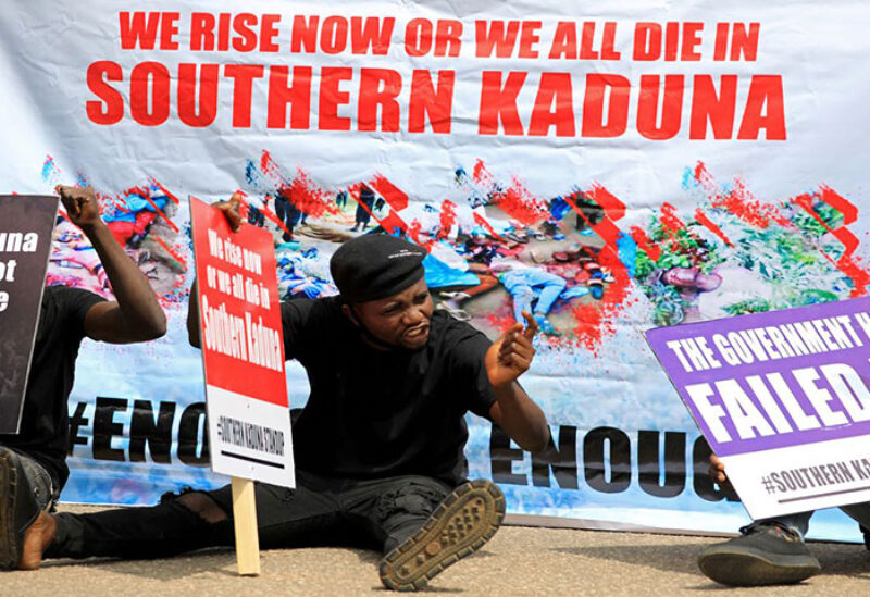 People gather to protest killings in southern Kaduna and insecurities in Nigeria,