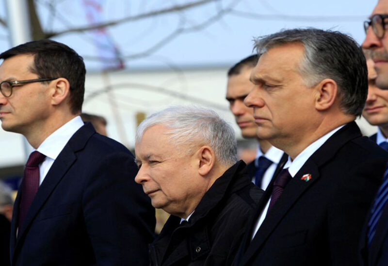 Polish Prime Minister Mateusz Morawiecki, leader of the ruling party Law and Justice, Jaroslaw Kaczynski and Hungarian Prime Minister Viktor Orban