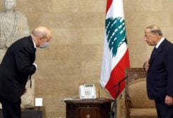 President Aoun welcoming France's Foreign Minister