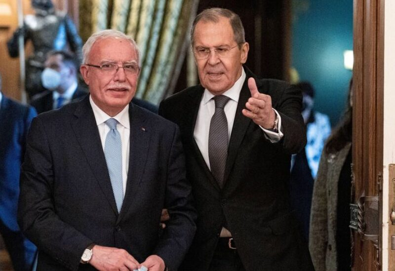 Russian Foreign Minister Sergey Lavrov and Palestinian Foreign Minister Riyad al-Maliki